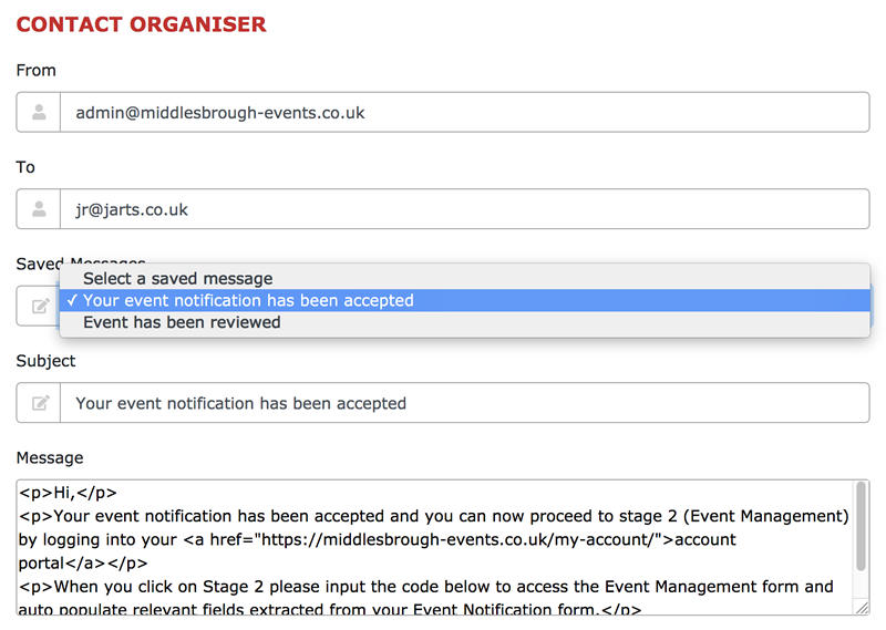 Email Messages Contact Organiser
