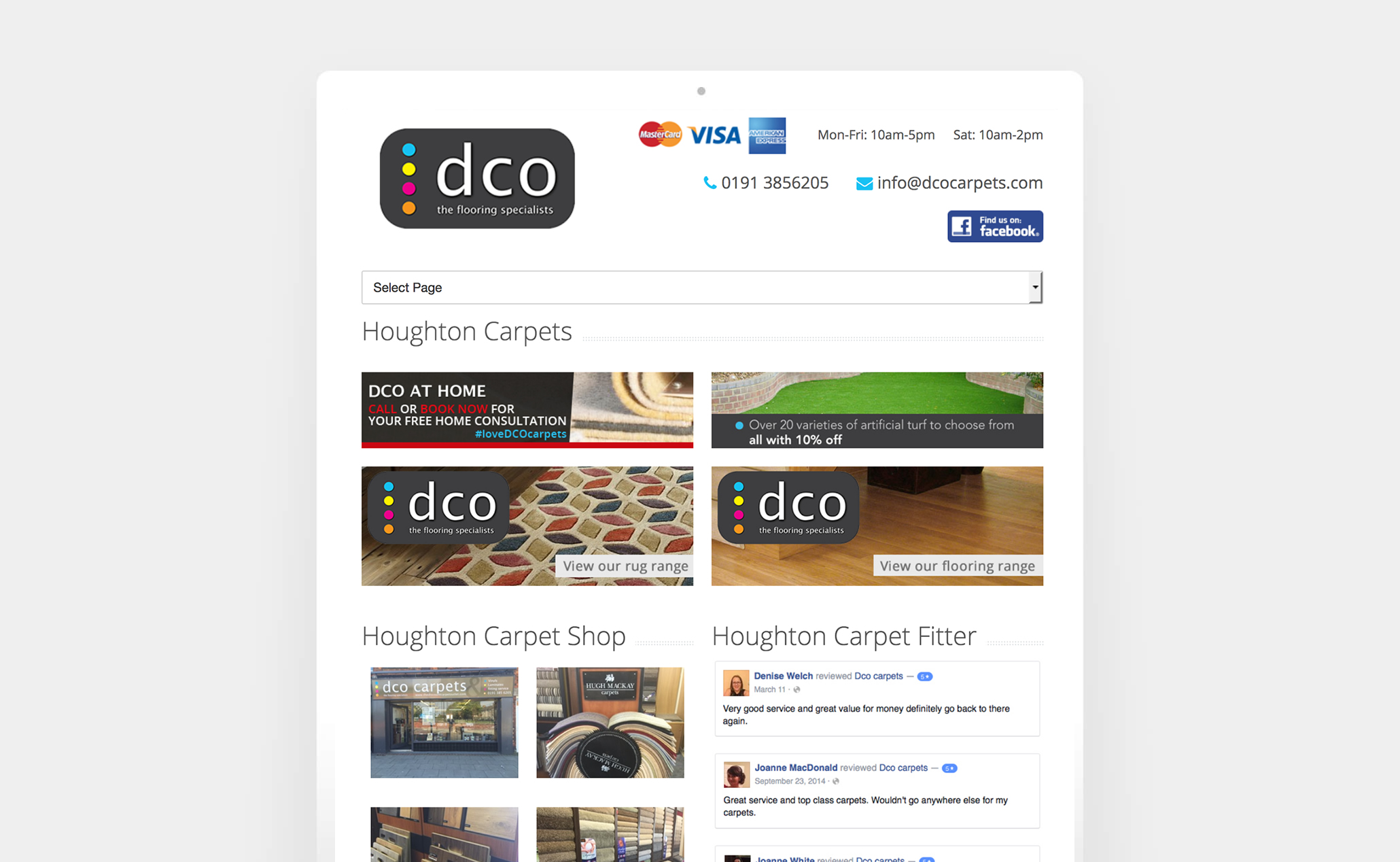 <p>Local carpet and flooring specialists DCO Carpets already had a website but required work on making their site responsive and attracting more customers. We were able to advise and implement changes which not only increased their Google visibility with some on page Search Engine Optimisation but allowed customers to link from facebook to their website seamlessly using a mobile phone.</p> <p>Over the years we've helped when required and now host and maintain the website as well</p>
