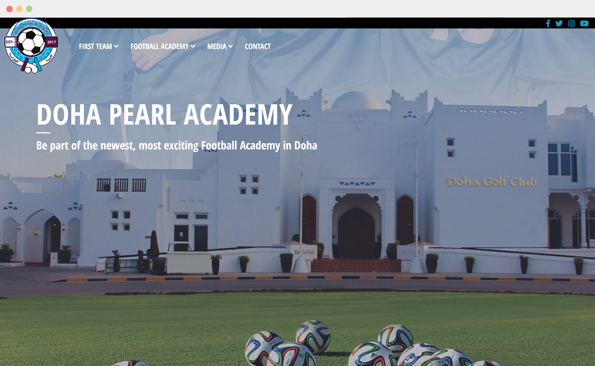 <p>Doha Peal are one of the top football teams in Doha who recenty established the newest and best football academy in Doha. Their website required an update to reflect their new brand and separate the first team section from the new football academy. We were able to develop a new, responsive website that stood out and made a real impact for the launch of the academy and to start of the 2018/19 season.</p>